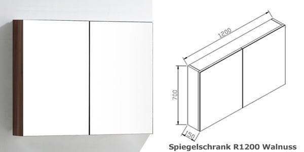 BERNSTEIN Spiegelschrank R1200 mit 2 Türen - Breite 120cm - Farbe wählbar zoom thumbnail 5