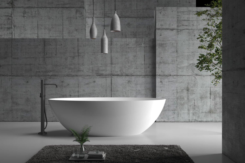Freistehende Badewanne aus Mineralguss RIO STONE weiß - 180 x 85cm - Wählbar in Matt oder Hochglanz