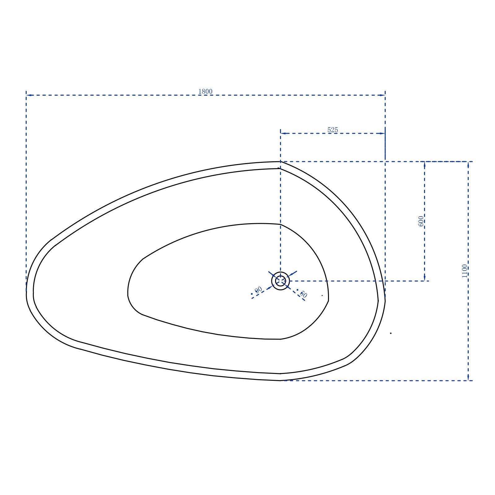 Freistehende Badewanne VENETO Acryl Weiß oder Schwarz/Weiß - Glänzend - 180 x 110 x 60 cm - Standarmatur wählbar zoom thumbnail 6