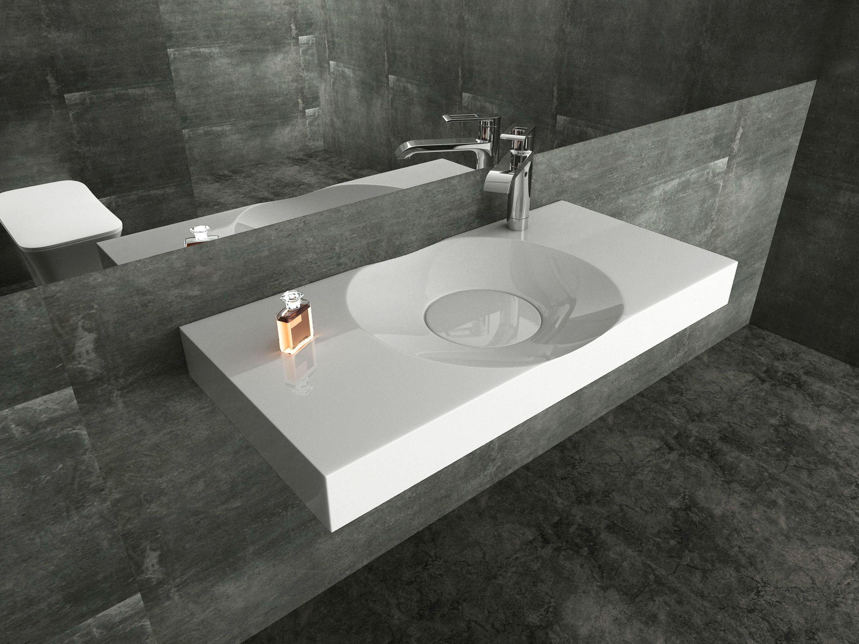 Wandwaschbecken Aufsatzwaschbecken BS6059 in Weiß - 100 x 48 x 10 cm