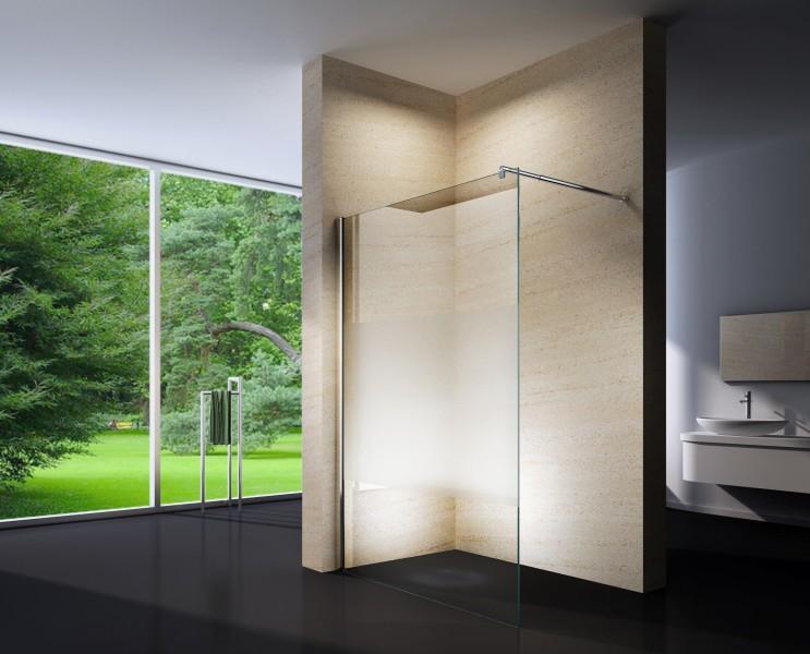 Duschabtrennung Walk-In Nano Echtglas EX101 - Milchglas-Streifen - Breite wählbar zoom thumbnail 3