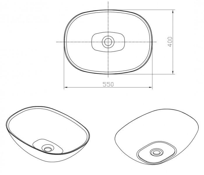 Aufsatzbecken Aufsatz-Waschbecken oval PB2202 - 55 x 40 x 15 cm zoom thumbnail 4