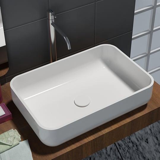 Waschbecken Pop-up Blende aus Mineralguss für Ablaufgarnitur - Farbe Weiß Glänzend zoom thumbnail 4