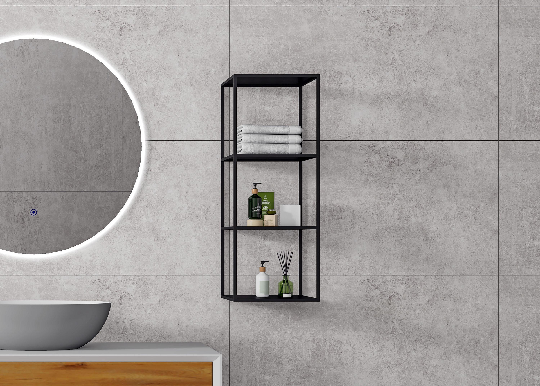 Metallregal aus Edelstahl - Badregal Schwarz matt - 100x30x30cm