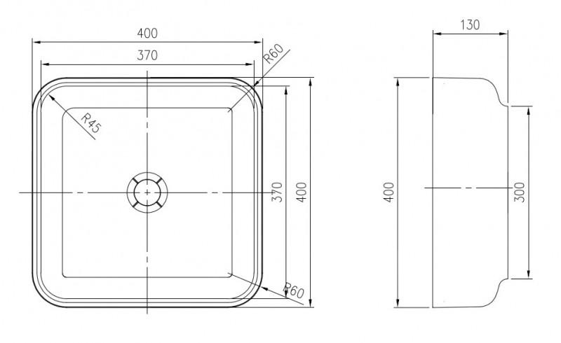 Mineralguss Aufsatzbecken Waschbecken Quadrat PB2120 - 40x40x13cm - Pure Acrylic zoom thumbnail 3