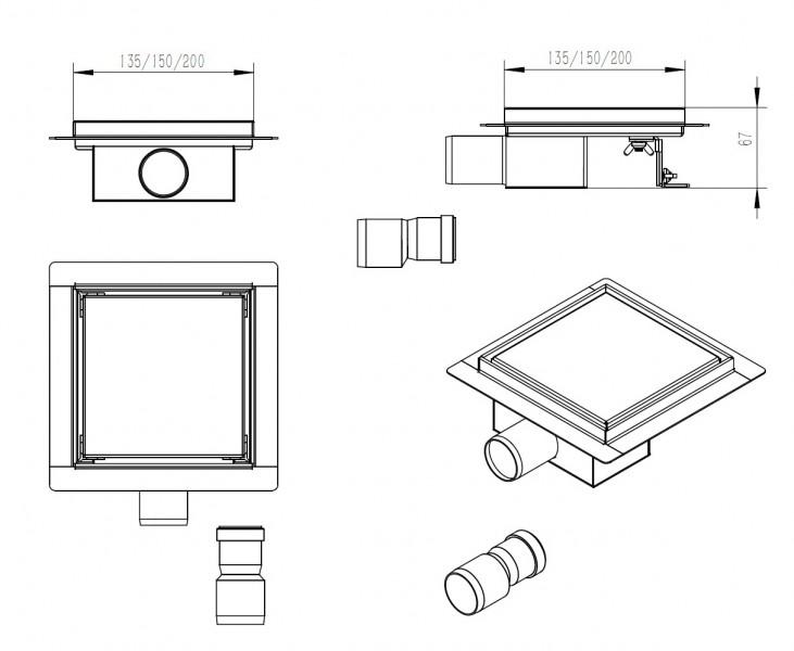 Edelstahl-Duschrinne S8 für Duschkabine befliesbar -  Größe wählbar zoom thumbnail 3