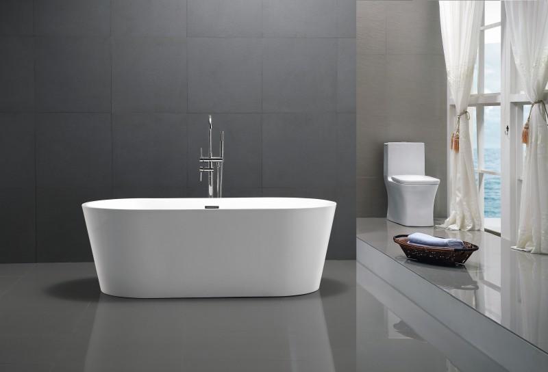 Freistehende Badewanne MIO aus Acryl weiß - Größe und Standarmatur wählbar