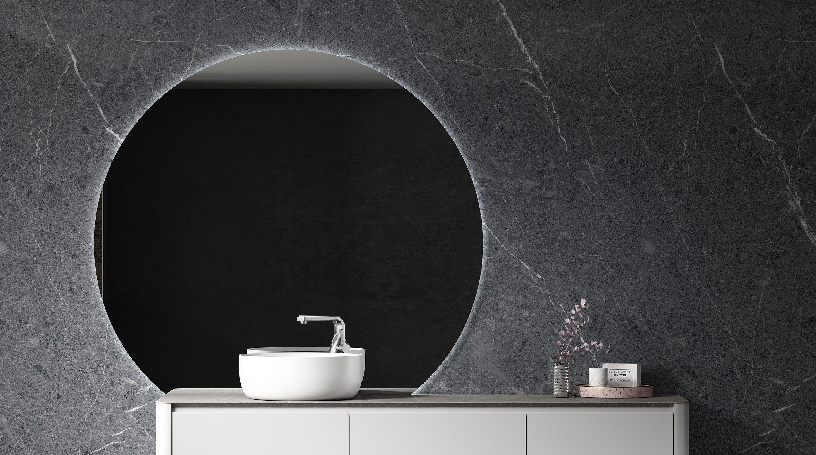 LED Lichtspiegel Badspiegel rund BOVA mit Spiegelheizung - 130 x 118 cm