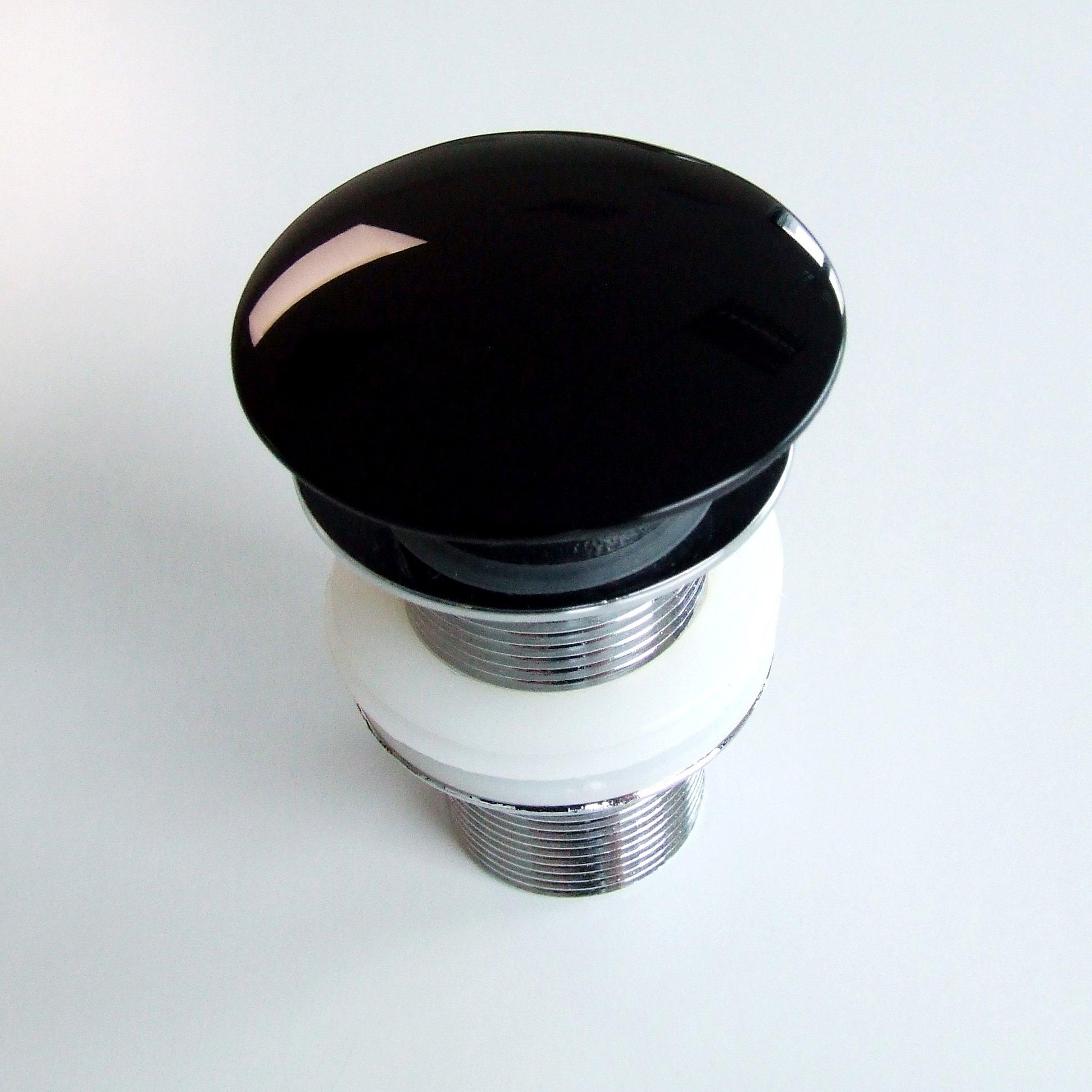 Waschbecken Pop-up Blende aus Mineralguss für Ablaufgarnitur - Farbe Schwarz Glänzend