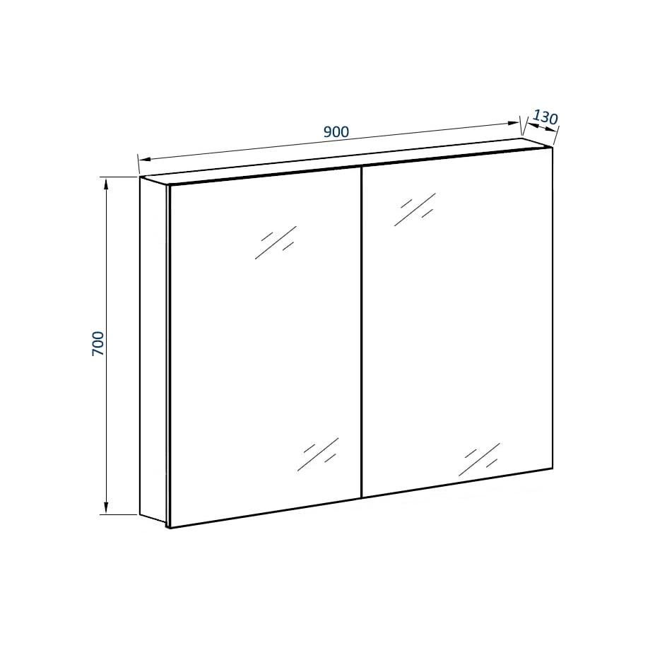 Aluminium-Spiegelschrank G900 2-türig - innen und außen Spiegel - 90 x 70 x 13 cm zoom thumbnail 6