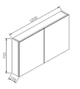 BERNSTEIN Spiegelschrank R1200 mit 2 Türen - Breite 120cm - Farbe wählbar zoom thumbnail 6