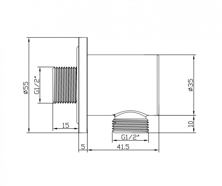 Hochwertiger Wandanschlussbogen BA008 - rundes Design
