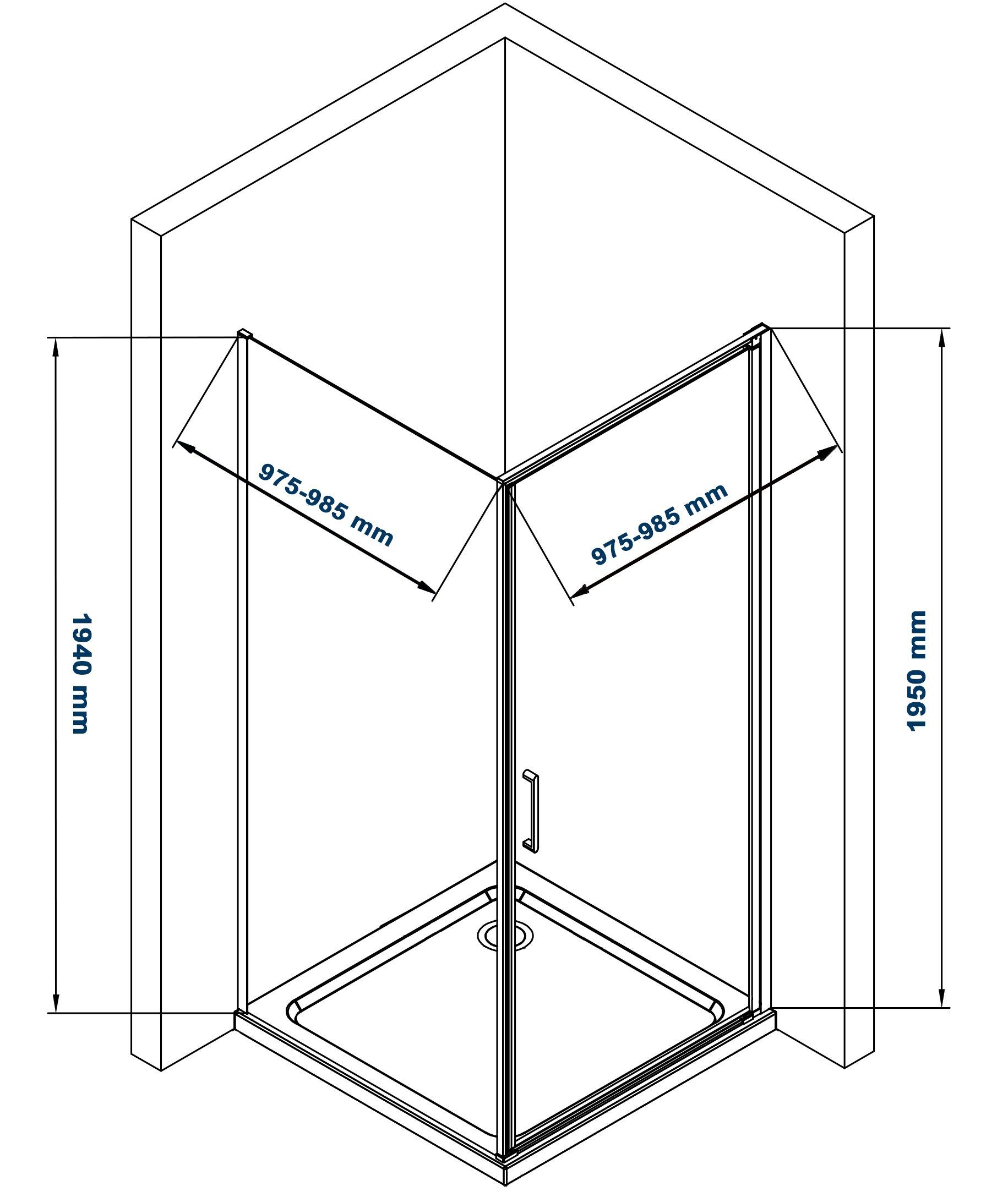 Duschkabine Eckdusche Nano 6mm Echtglas EX416S - 100 x 100 x 195 cm zoom thumbnail 5