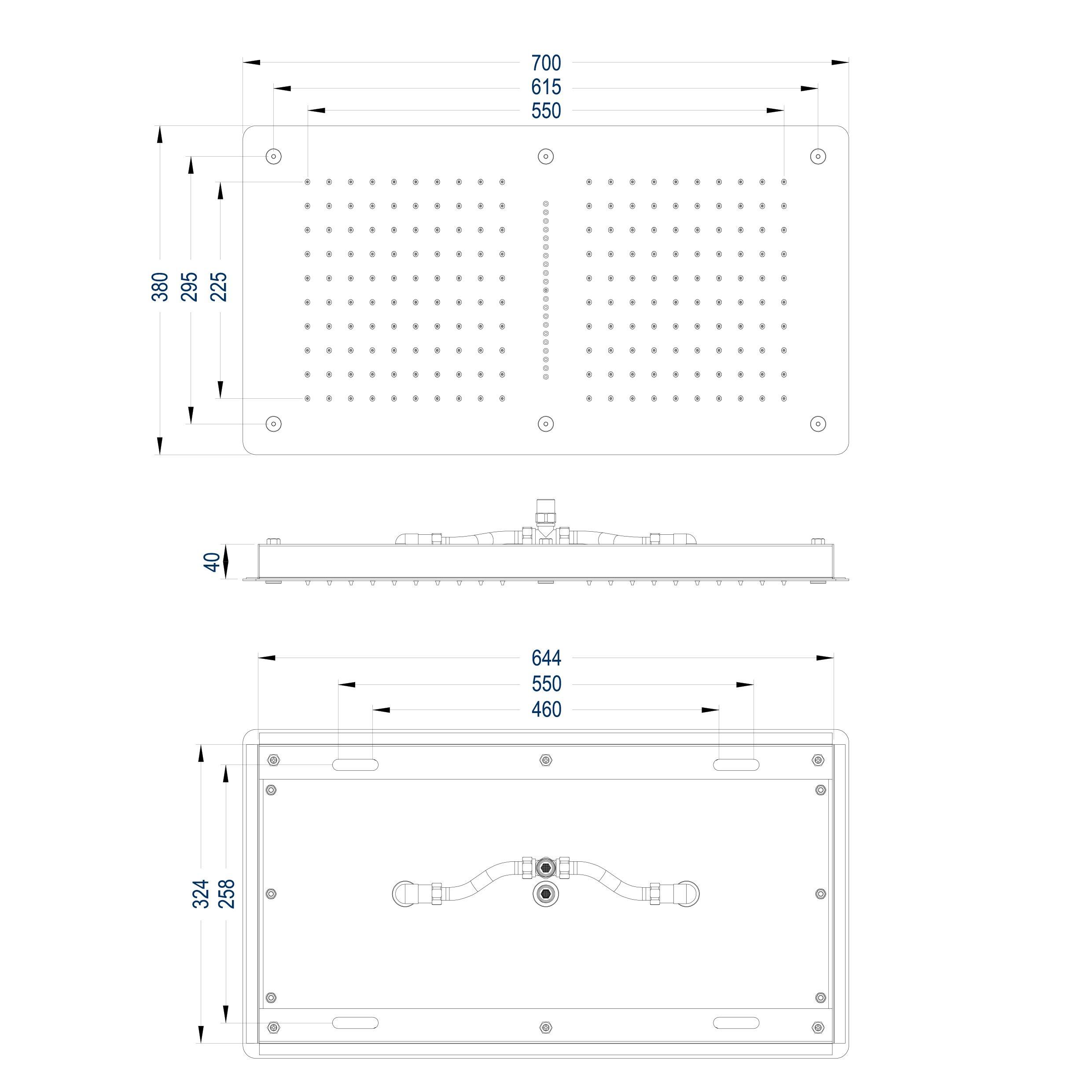 XXL-Regendusche Edelstahl-Deckenbrause DPG5019 superflach - 70 x 38 cm - Deckeneinbau zoom thumbnail 3