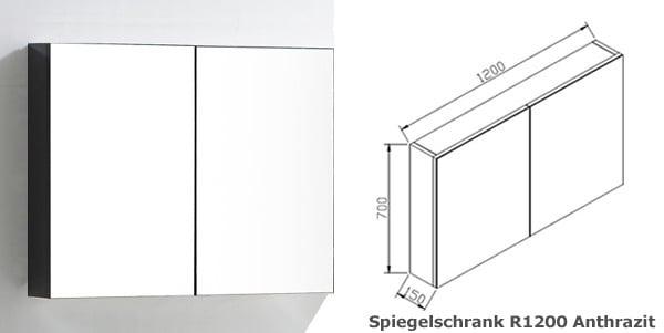 BERNSTEIN Spiegelschrank R1200 mit 2 Türen - Breite 120cm - Farbe wählbar zoom thumbnail 4