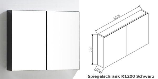 BERNSTEIN Spiegelschrank R1200 mit 2 Türen - Breite 120cm - Farbe wählbar zoom thumbnail 3