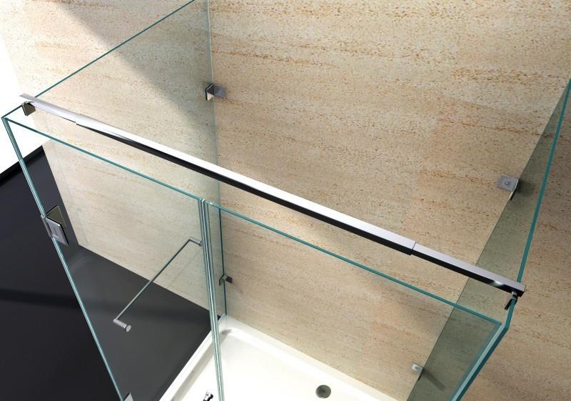 Duschkabine U-Form 8 mm Nano Echtglas EX412 - 120 x 90 x 195 cm - inkl. Duschtasse