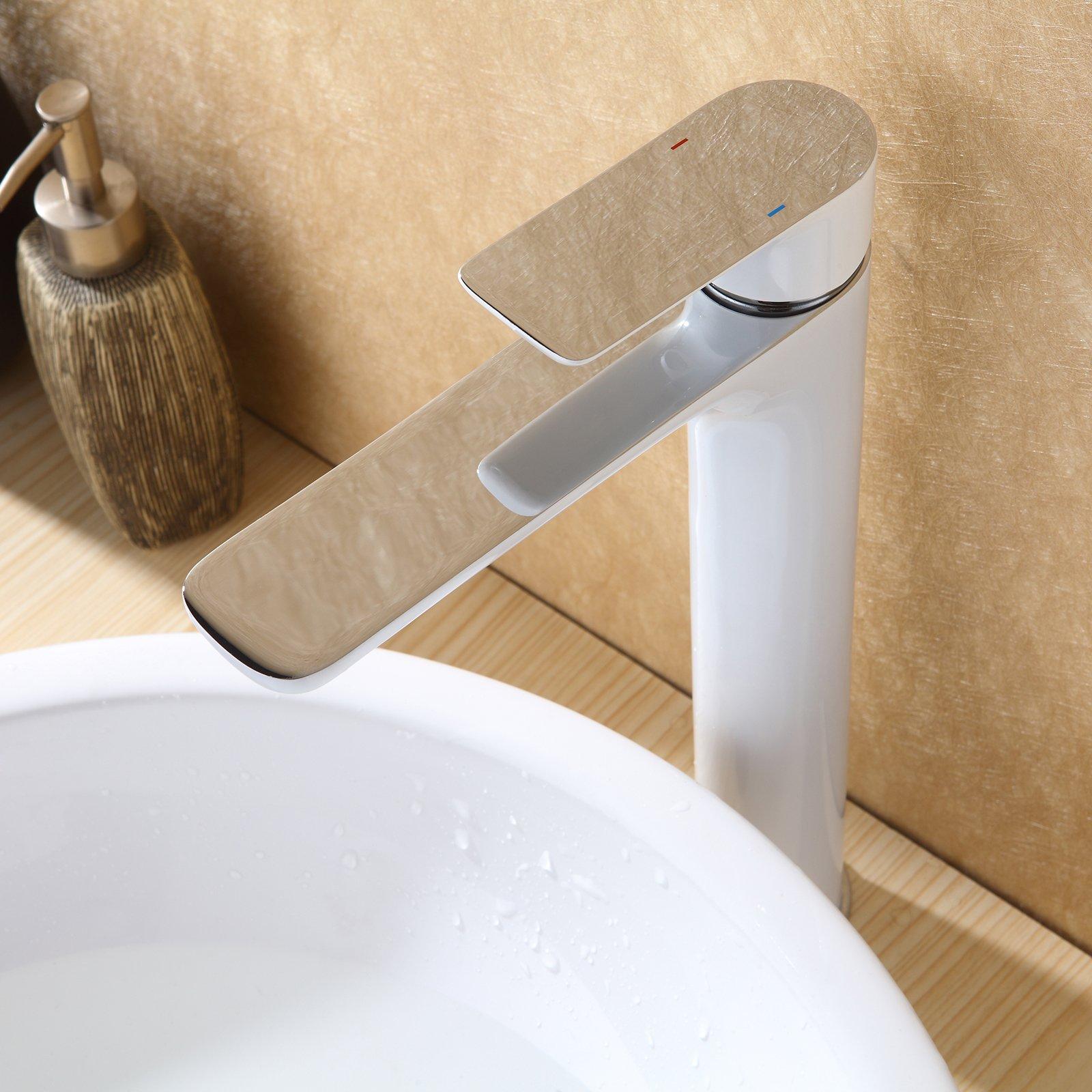 Hochwertige Waschtischarmatur Armatur Badarmatur 4025CW in Weiß/Chrom Glänzend zoom thumbnail 4