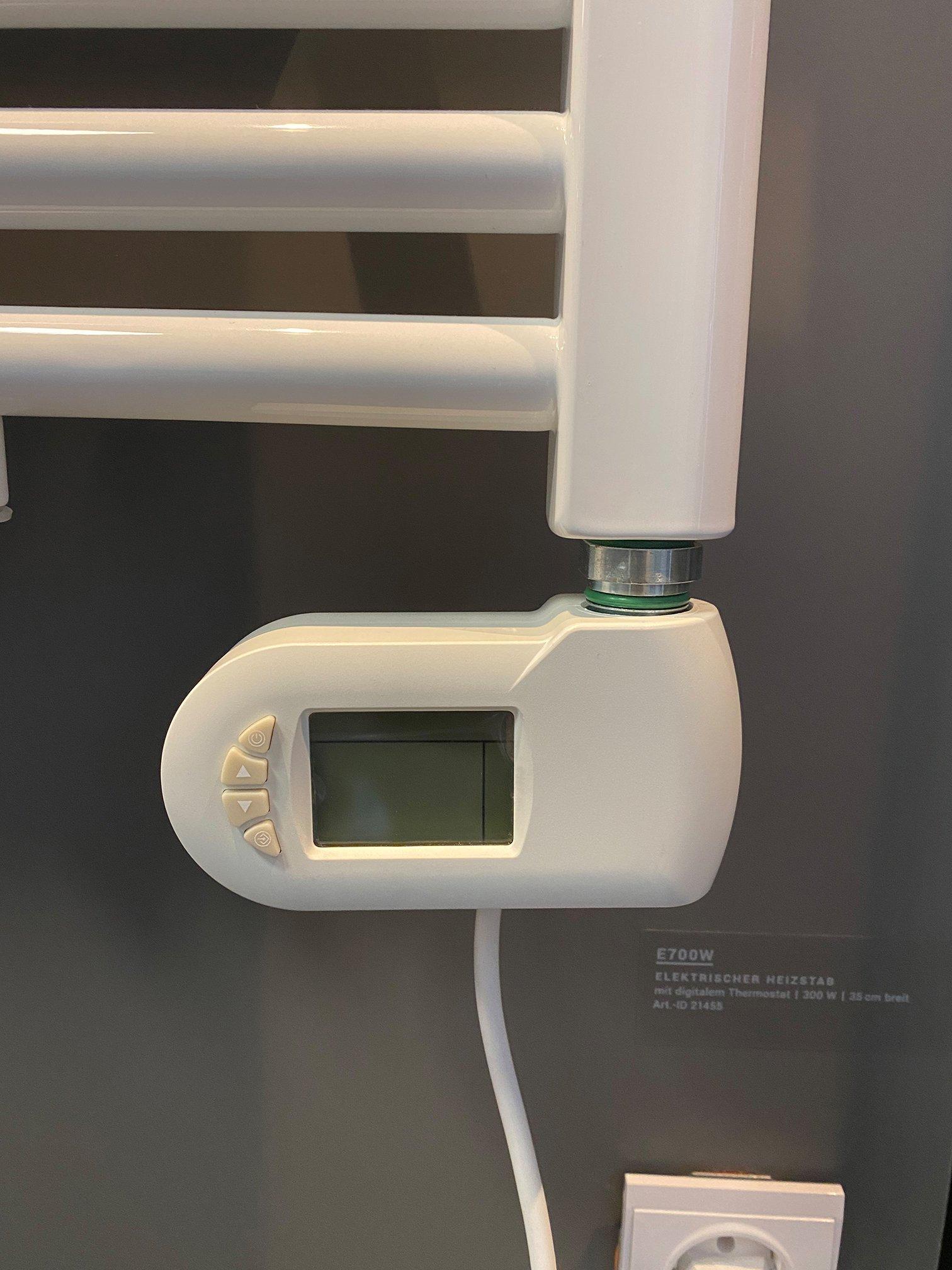 Heizstab elektrisch E700W für Badheizkörper - mit digitalem Thermostat in Weiß