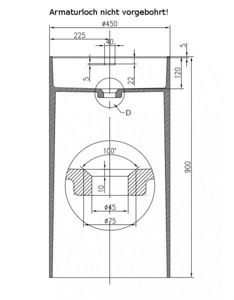Freistehendes Waschbecken aus Mineralguss PB2021 weiß - 45 x 90 cm - Solid Stone zoom thumbnail 3
