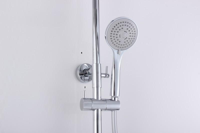 Design-Duschsäule Thermostat 4011 BASIC inkl. Handbrause - Auswahl Duschkopf rund zoom thumbnail 4