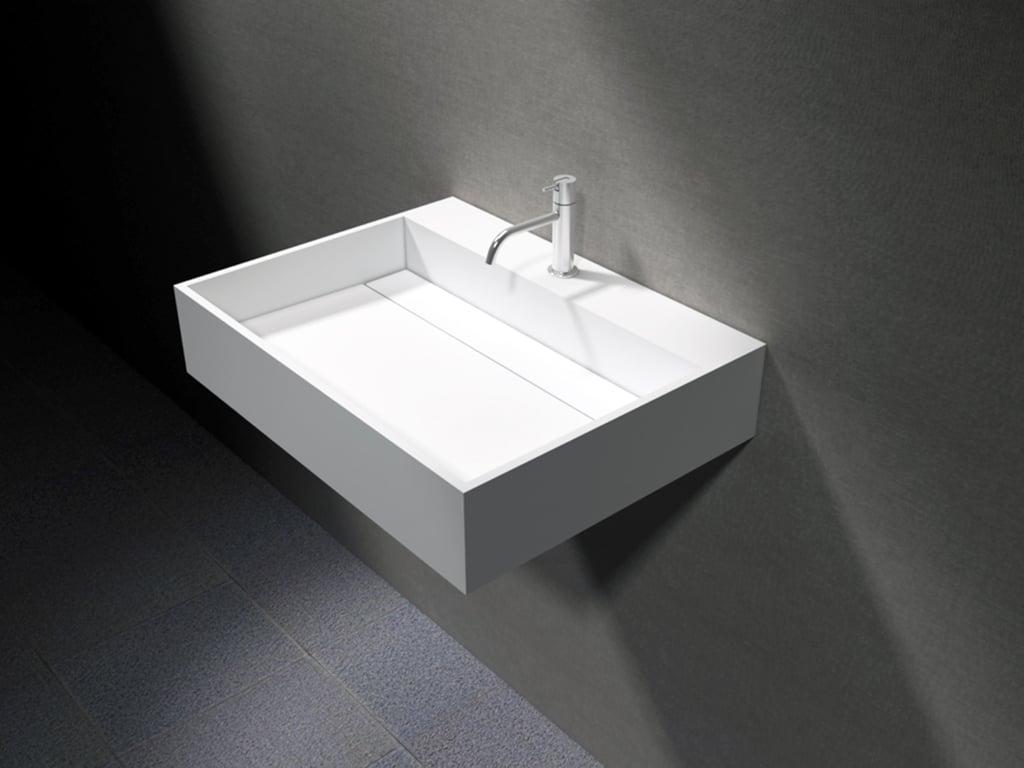 Wandwaschbecken PB2080 aus Mineralguss - 60 x 46 x 13 cm - Weiß matt