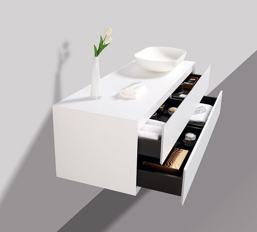 Badmöbel Milou 1400 Weiß matt - Spiegel und Aufsatzwaschbecken optional