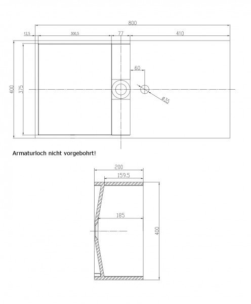 Wandwaschbecken aus Mineralguss PB2037 weiß - Solid Stone - 80 x 40 x 20 cm zoom thumbnail 3
