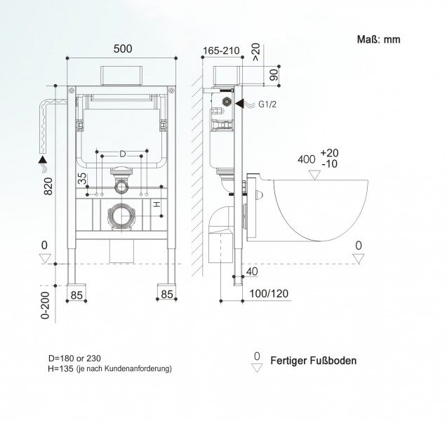 WC-Vorwandelement G3005 inkl. Betätigungsplatte satin zoom thumbnail 4