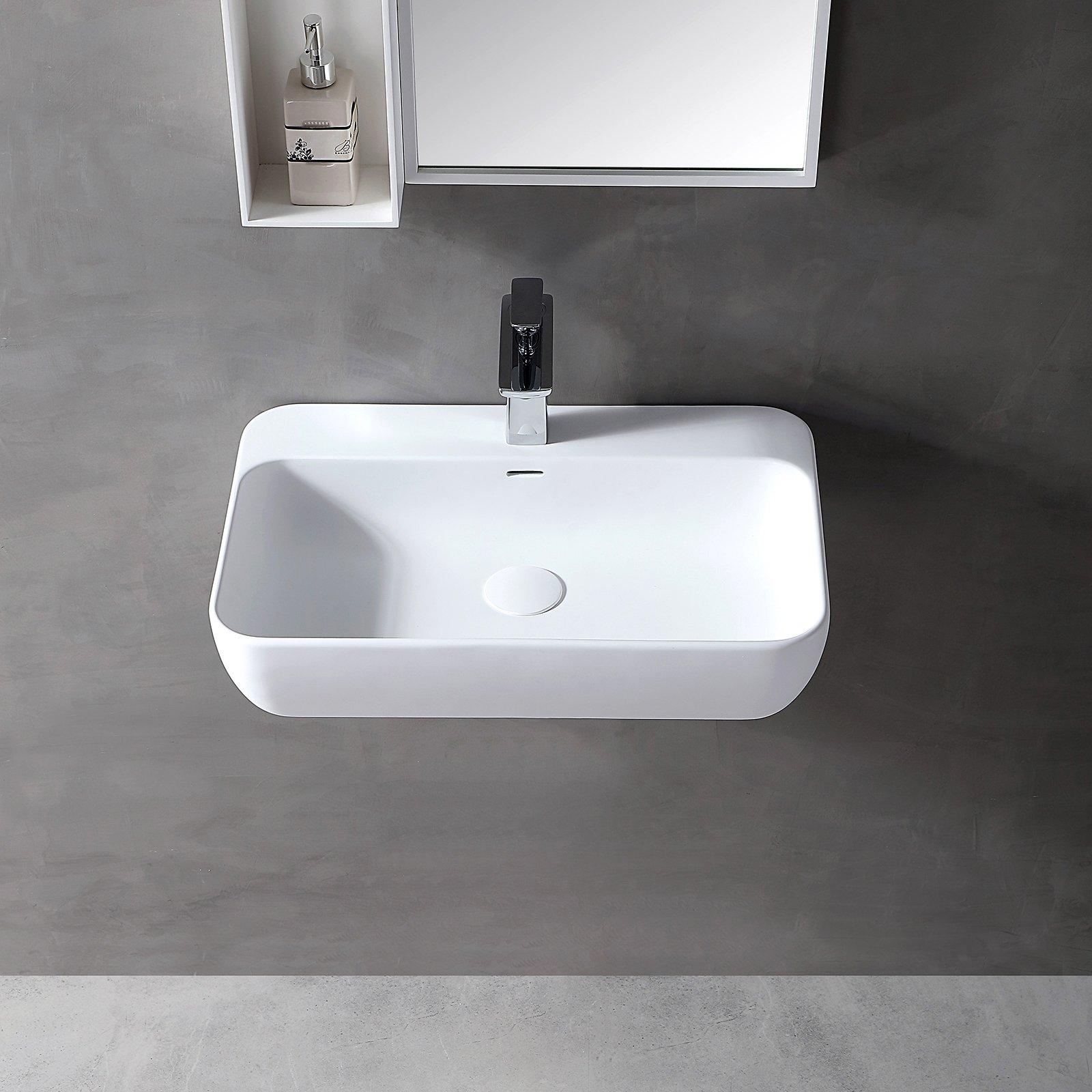 Wandwaschbecken Aufsatzwaschbecken TWG201 aus Mineralguss Solid Stone - Weiß matt - 60x40x14cm zoom thumbnail 3