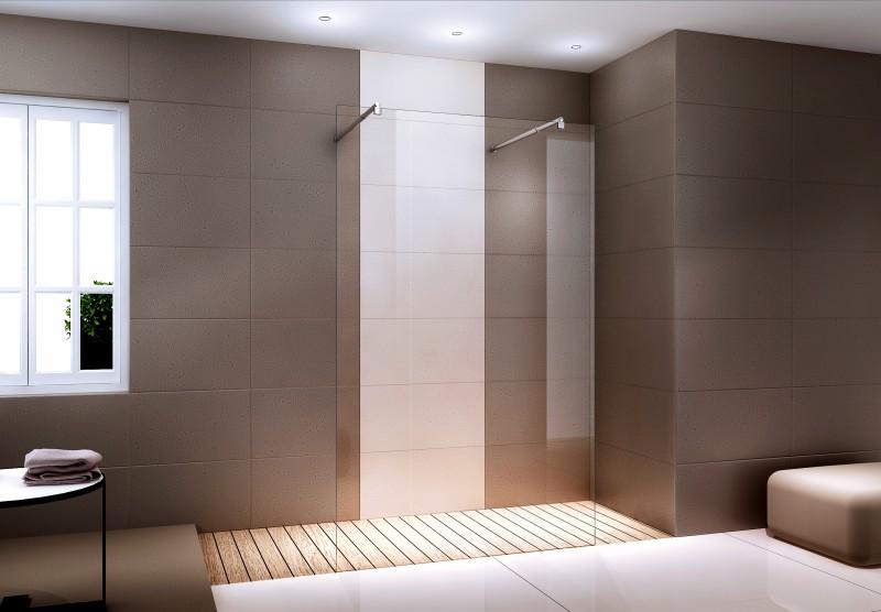 Duschabtrennung Walk-In Nano Echtglas EX105 - Klarglas - Freistehend - Breite wählbar