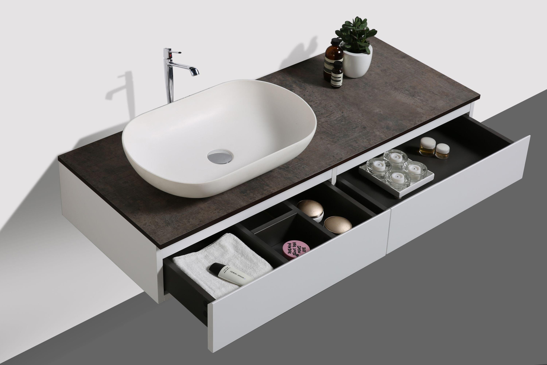 Badmöbel Vision 1200 Weiß matt - Spiegel und Aufsatzwaschbecken optional zoom thumbnail 4