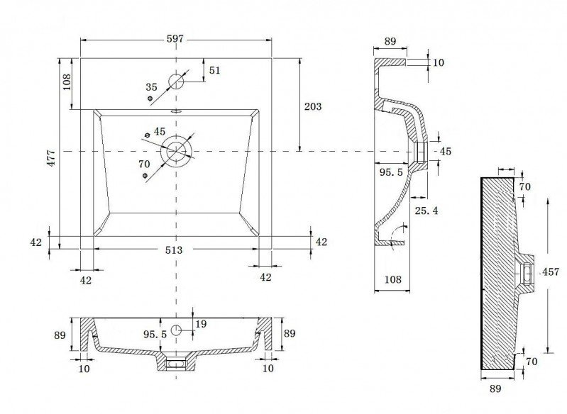 Wandwaschbecken Aufsatzwaschbecken BS6049 60 x 48 x 14cm  zoom thumbnail 5