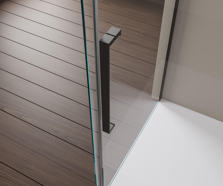 Nischendusche mit Schiebetür Soft-Close DX906 FLEX Schwarz matt - 8 mm Nano Echtglas - Breite wählbar zoom thumbnail 6