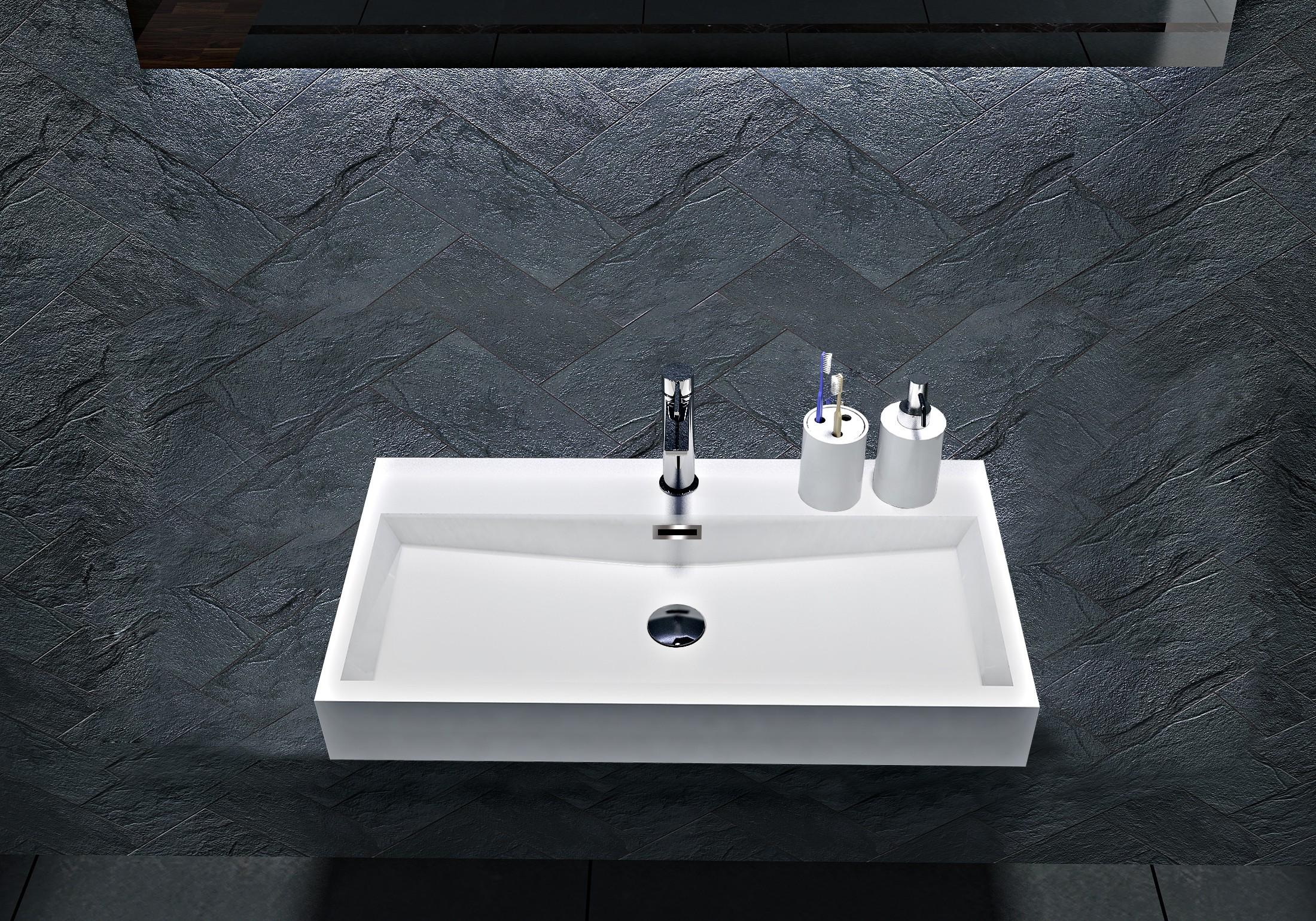 Wandwaschbecken Aufsatzwaschbecken BS6002 - Breite 76,5cm / 100cm zoom thumbnail 3
