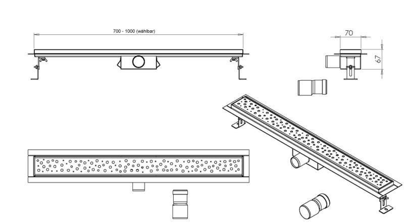 Edelstahl-Duschrinne GT01 für Duschkabine befliesbar - Breite 700 mm zoom thumbnail 6