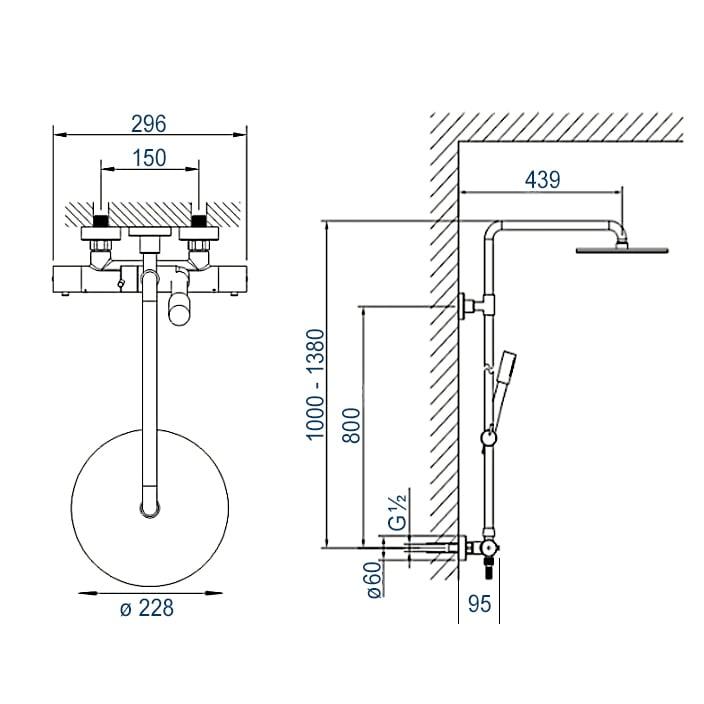 Design-Duschsäule Thermostat 4011 BASIC inkl. Handbrause - Auswahl Duschkopf rund zoom thumbnail 3