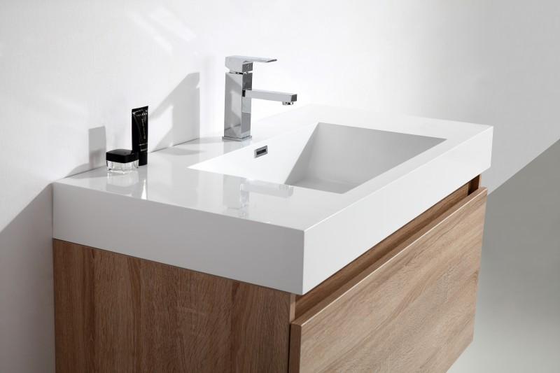 Badmöbel-Set A1000 Basic Eiche geweißt - Spiegel und Seitenschrank wählbar zoom thumbnail 5