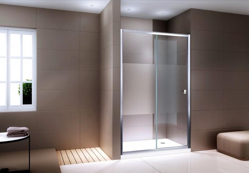 Duschabtrennung Schiebetür NANO Echtglas EX505 - Milchglas-Streifen - Breite wählbar