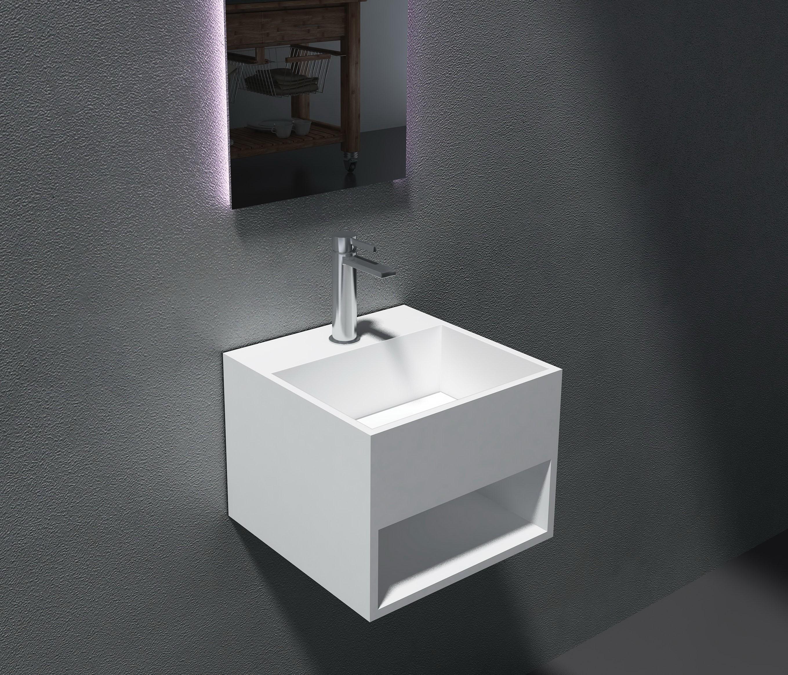 Wandwaschbecken aus Mineralguss PB2035 weiß - Solid Stone - 32,5 x 32,5 x 25 cm