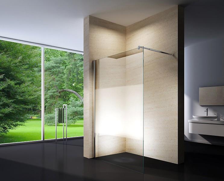 Duschabtrennung Walk-In Dusche EX101 8mm Nano Echtglas - Milchglas-Streifen - Breite wählbar zoom thumbnail 3