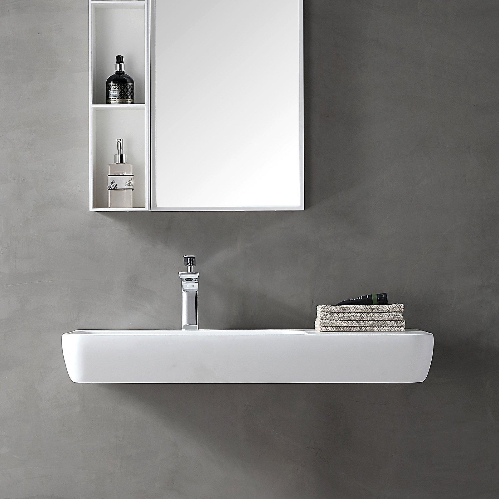 Wandwaschbecken Aufsatzwaschbecken TWG202 aus Mineralguss Solid Stone - Weiß matt - 90x40x12cm zoom thumbnail 4