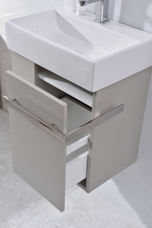 Badmöbel-Set Compact 500 für Gäste-WC - Taupe hell matt zoom thumbnail 3