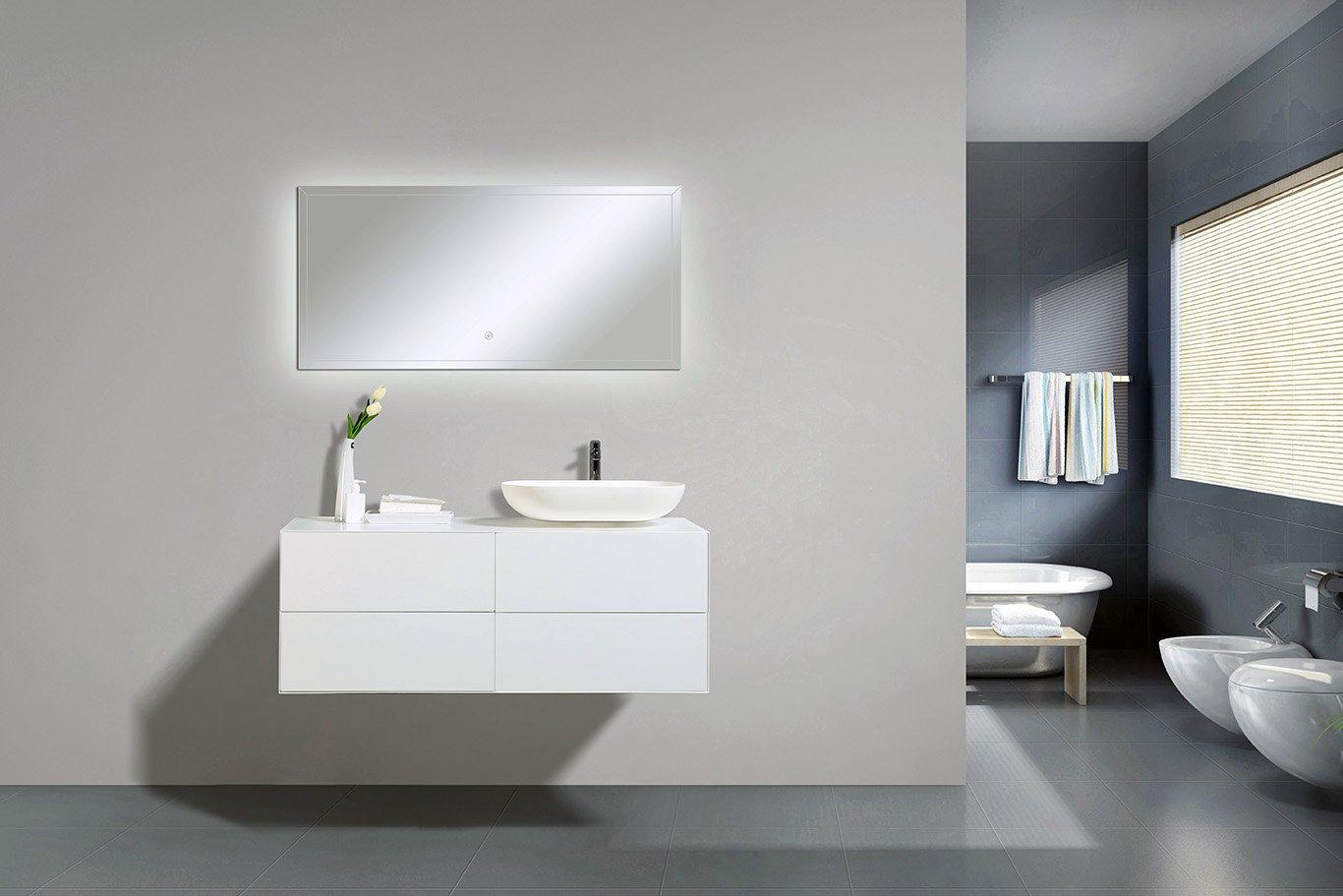Badmöbel Milou 1200 Weiß matt - Spiegel und Aufsatzwaschbecken optional