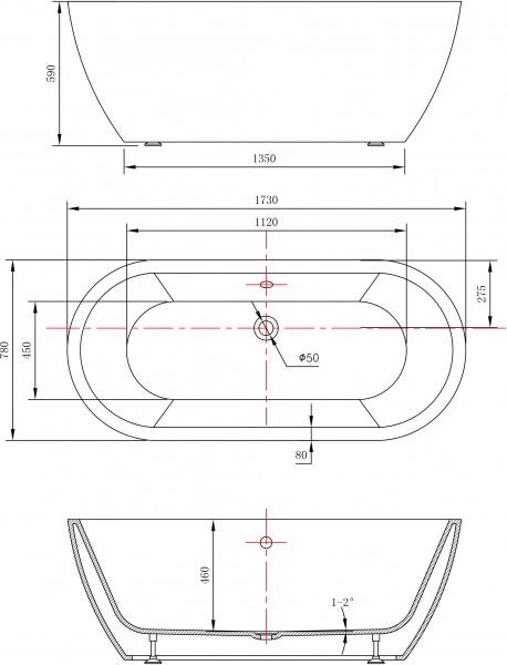 Freistehende Badewanne JAZZ Acryl weiß - 173 x 78 cm - Armatur optional zoom thumbnail 4