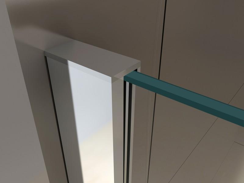 Duschkabine Eckdusche 8 mm NANO Echtglas EX416-1 Milchglas-Streifen - 90 x 90 x 195 cm zoom thumbnail 4