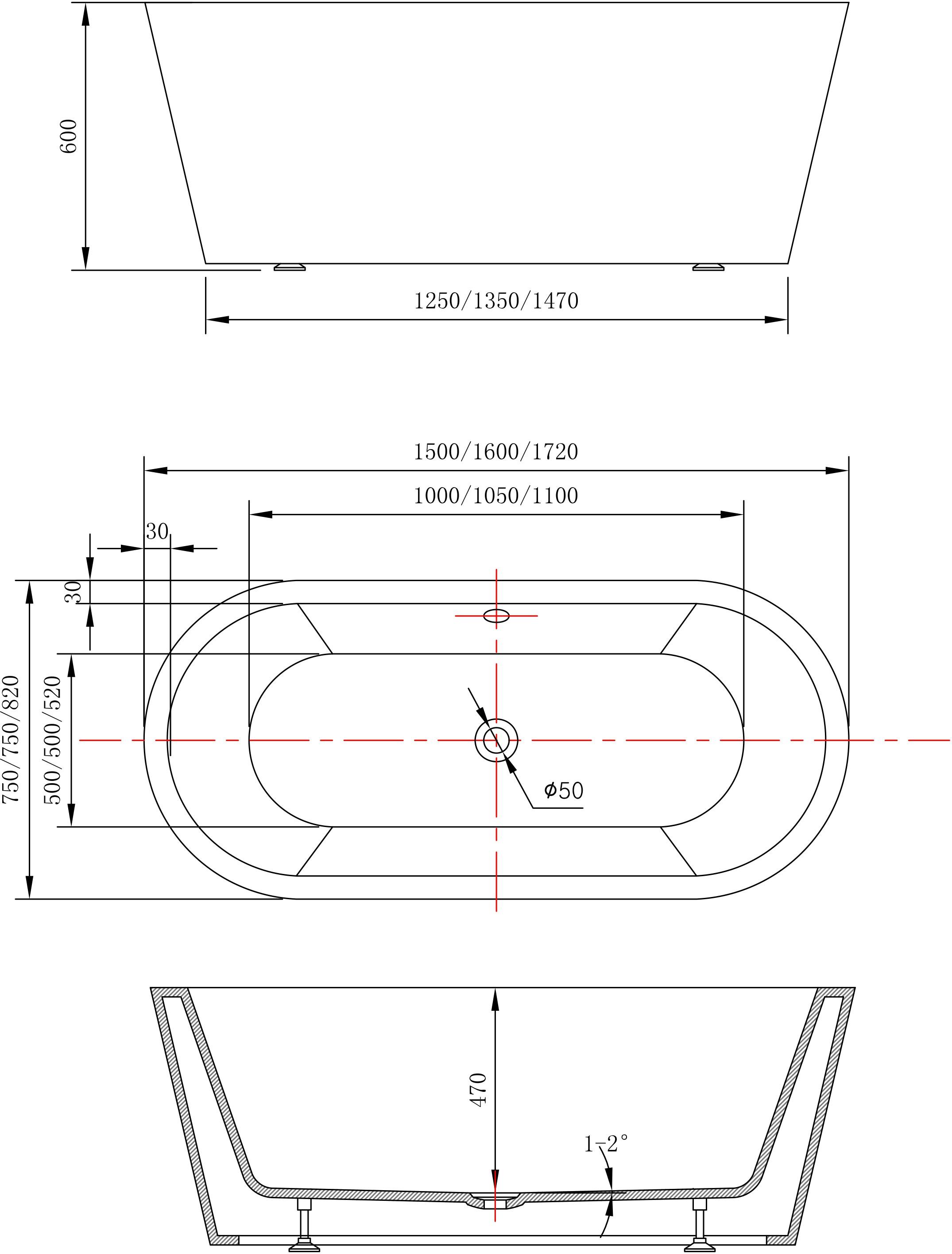 Freistehende Badewanne MIO aus Acryl weiß - Größe und Standarmatur wählbar zoom thumbnail 4