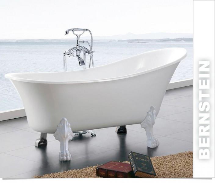 Freistehende Badewanne PARIS Acryl Weiß matt oder glänzend - 176 x 71 cm - Metallfüße & Standarmatur wählbar