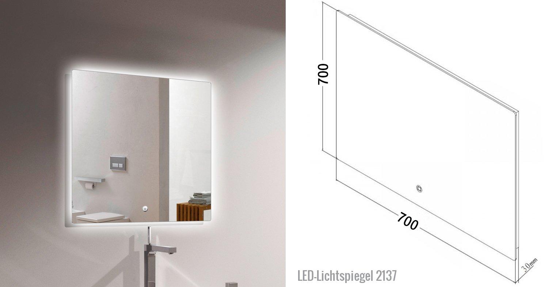 Badmöbel Vision 700 Weiß matt - Spiegel und Aufsatzwaschbecken optional zoom thumbnail 6