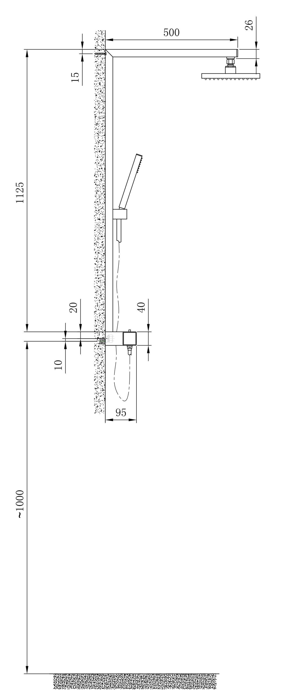 Design Duschsäule NT6705C mit Thermostat inkl. Duschschlauch und Handbrause - Auswahl Duschkopf eckig zoom thumbnail 5